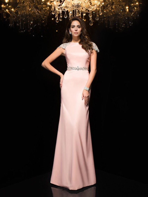 Sheath/Column Jewel Beading Short Sleeves Long Satin Dress