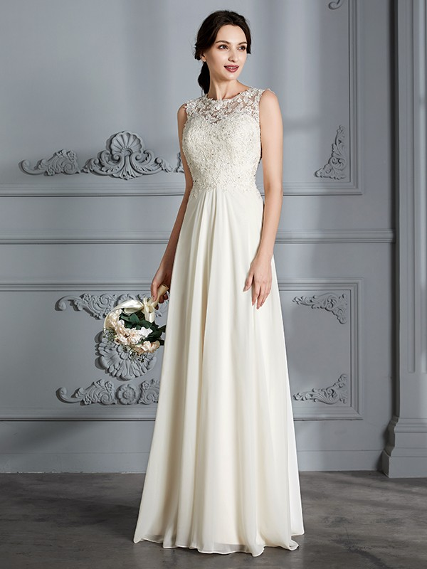 A-Line/Princess Chiffon Scoop Floor-Length Wedding Dresses