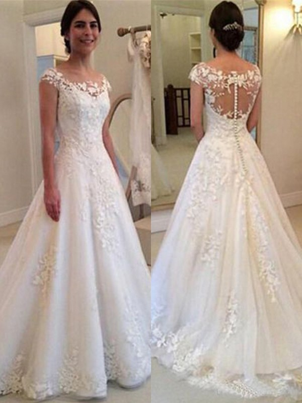 A-Line/Princess Scoop Sleeveless Lace Tulle Sweep/Brush Train Wedding Dress