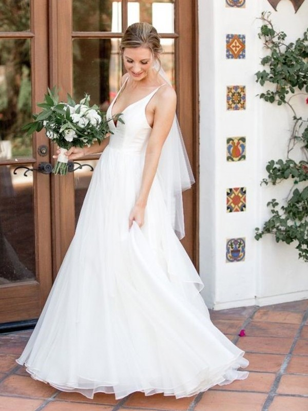 A-Line/Princess Sleeveless V-neck Ruffles Tulle Sweep/Brush Train Wedding Dress