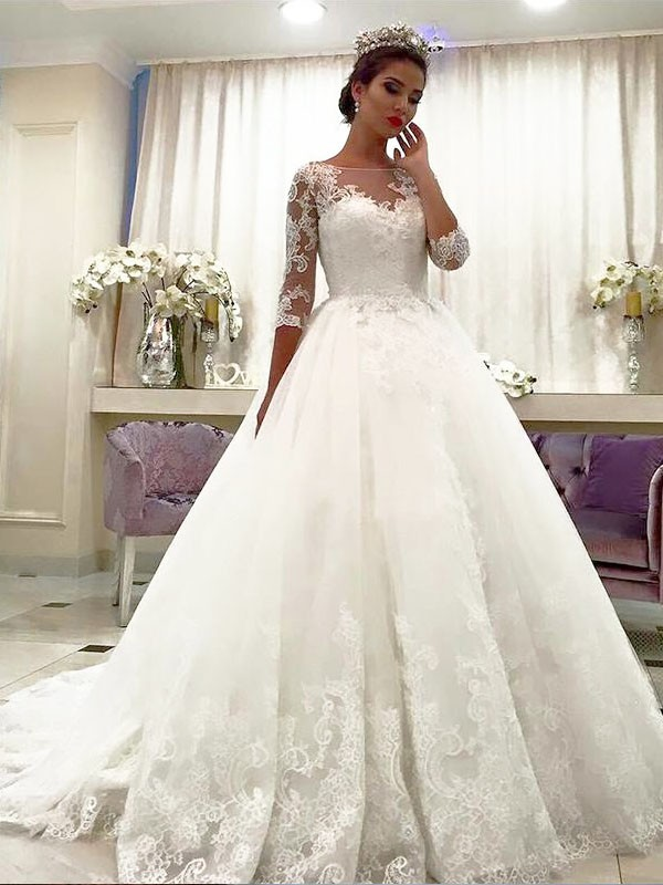 Ball Gown Tulle Bateau Lace Court Train Wedding Dresses