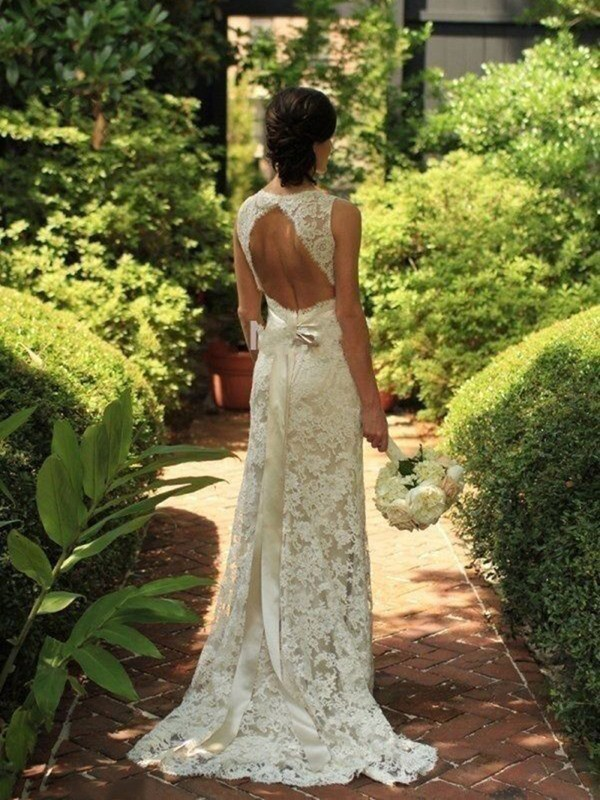 Sheath/Column Lace V-neck Sweep/Brush Train Wedding Dress
