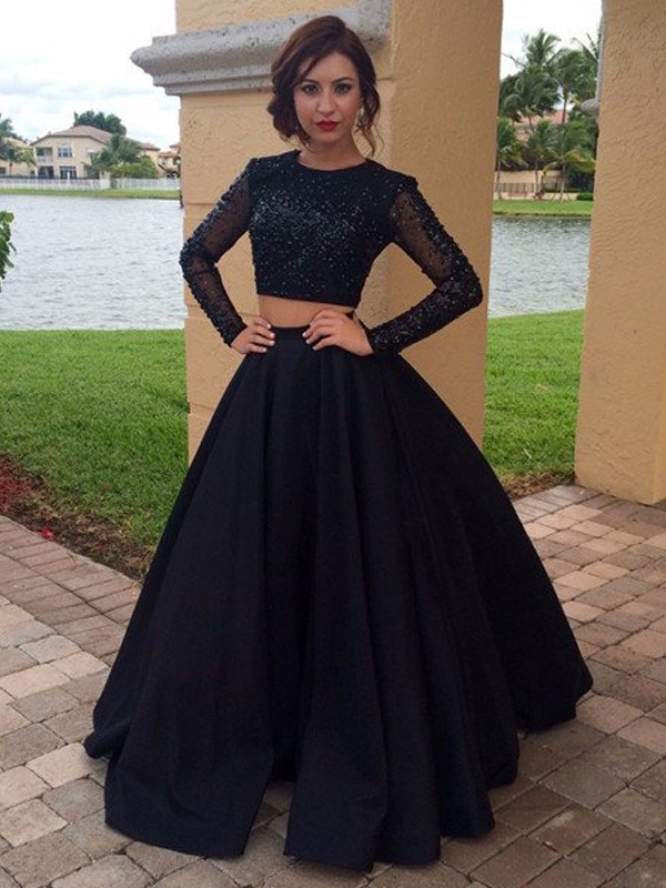 Ball Gown Long Sleeves Scoop Floor-Length Satin Dress