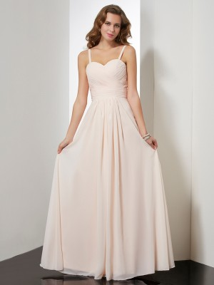 Sheath/Column Spaghetti Straps Ruffles Dress with Long Chiffon