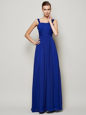 Sheath/Column Straps Pleats Bridesmaid Dress with Long Chiffon