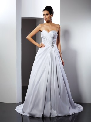 A-Line/Princess Sweetheart Ruffles Long Taffeta Wedding Dress