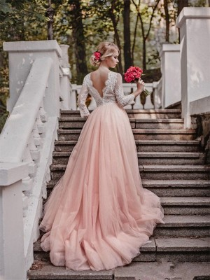 Ball Gown V-neck Court Train Long Sleeves Applique Tulle Wedding Dress