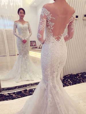 Trumpet/Mermaid Off-the-Shoulder Long Sleeves Lace Sweep/Brush Train Wedding Dress