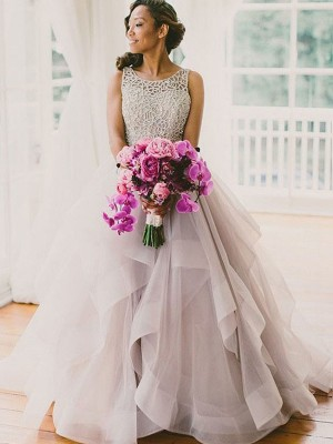 Ball Gown Scoop Floor-Length Tulle Wedding Dress