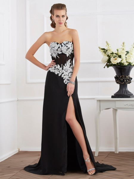 Sheath/Column Sweetheart Beading Applique Dress with Chiffon