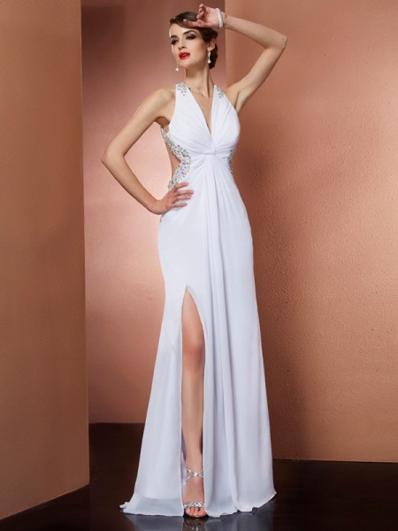 A-Line/Princess Halter Applique Beading Dress with Long Chiffon