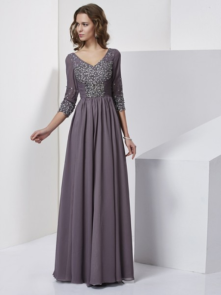 Sheath/Column V-neck Beading Dress with Long Chiffon