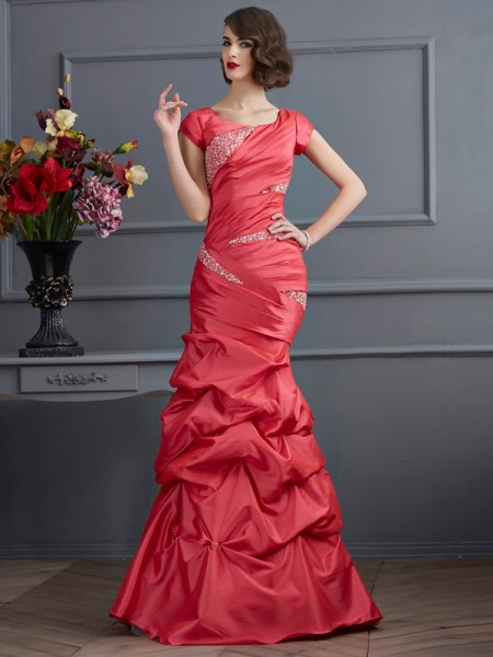 Trumpet/Mermaid Scoop Short Sleeves Beading Long Taffeta Dress