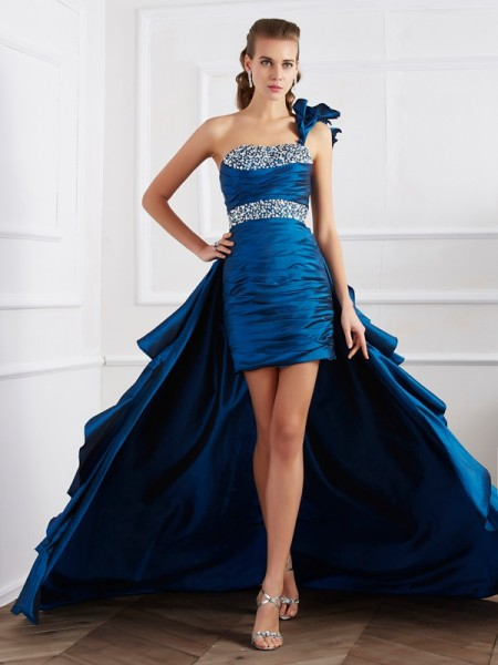 A-Line/Princess One-Shoulder Beading High Low Taffeta Dress