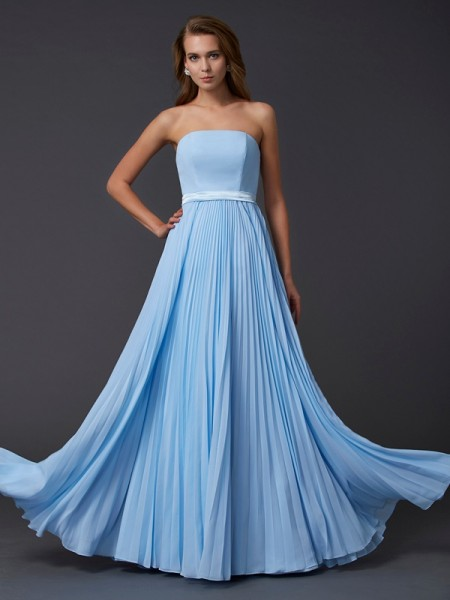 A-Line/Princess Strapless Ruched Dress with Long Chiffon