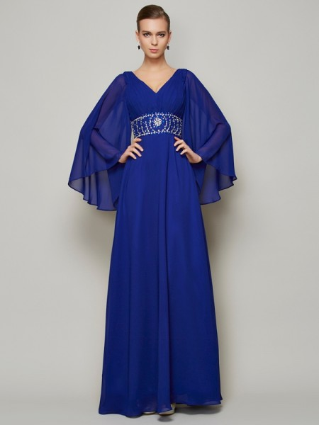 A-Line/Princess V-neck Long Sleeves Beading Dress with Long Chiffon
