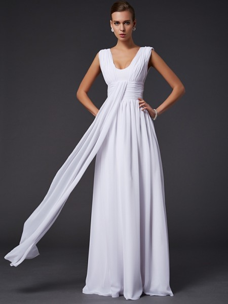 A-Line/Princess Jewel Pleats Dress with Long Chiffon