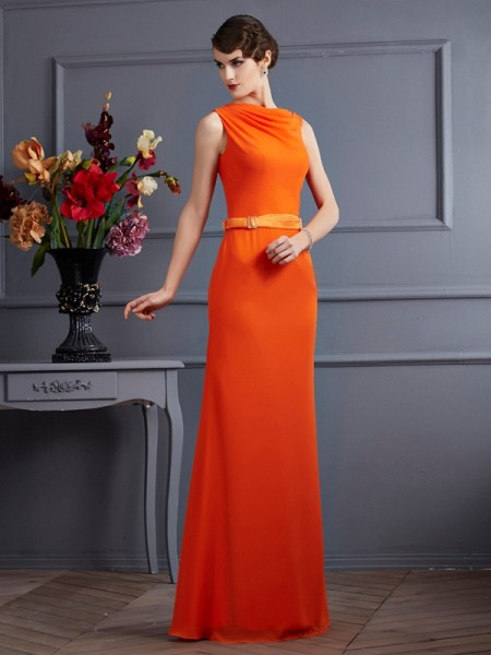 Sheath/Column High Neck Sash/Ribbon/Belt Dress with Long Chiffon