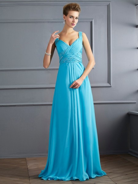 A-Line/Princess Straps Pleats Dress with Long Chiffon