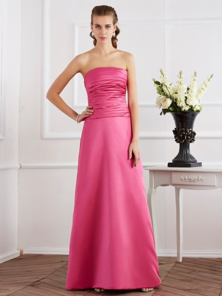 Sheath/Column Strapless Pleats Long Satin Dress