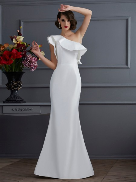 Trumpet/Mermaid One-Shoulder Ruffles Long Taffeta Dress