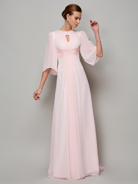 A-Line/Princess High Neck 1/2 Sleeves Beading Mother of the Bride Dress with Long Chiffon