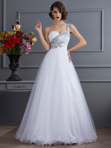 Ball Gown One-Shoulder Beading Long Elastic Woven Satin Quinceanera Dress