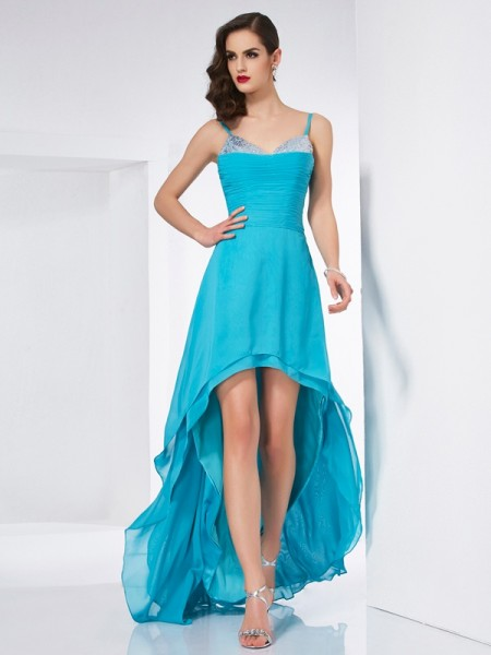 A-Line/Princess Spaghetti Straps High Low Chiffon Dress