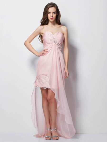 A-Line/Princess Sweetheart Beading Applique High Low Chiffon Dress