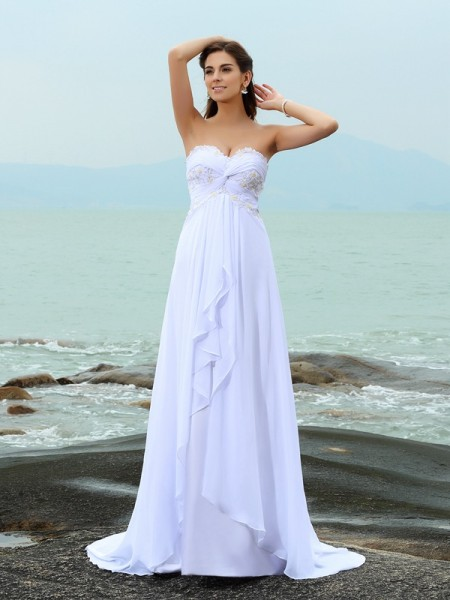 A-Line/Princess Sweetheart Beading Beach Wedding Dress with Long Chiffon