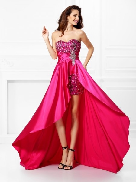A-Line/Princess Sweetheart Beading High Low Elastic Woven Satin Dress