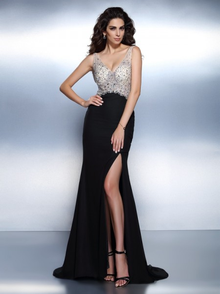 Trumpet/Mermaid V-neck Beading Dress with Long Chiffon