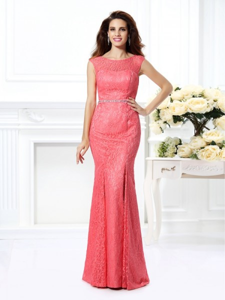 Trumpet/Mermaid Bateau Beading Long Lace Dress