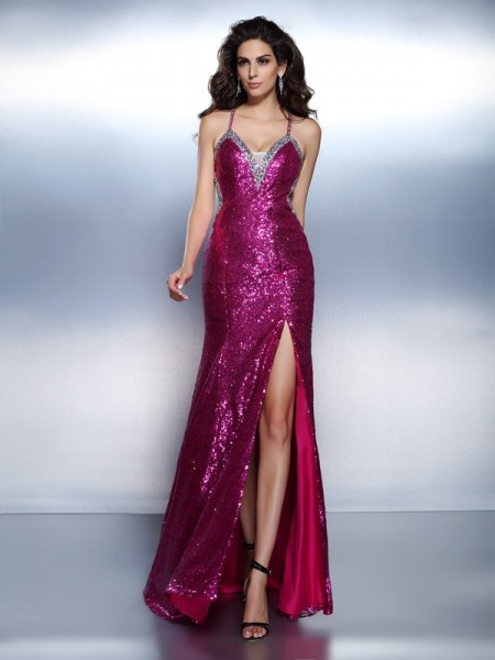 Trumpet/Mermaid Spaghetti Straps Beading Dress with Long Chiffon