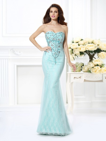 Trumpet/Mermaid Sweetheart Beading Lace Long Net Dress
