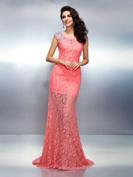 Trumpet/Mermaid Bateau Beading Long Satin Dress