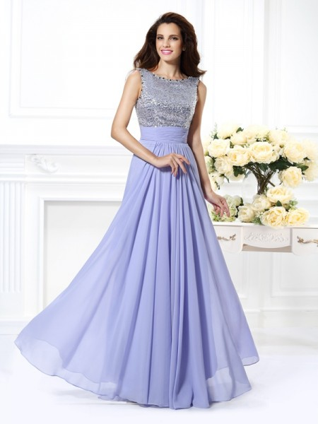 A-Line/Princess Bateau Lace Paillette Dress with Long Chiffon