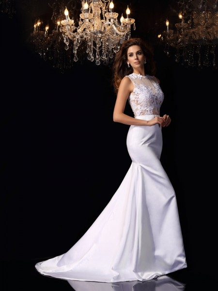 Trumpet/Mermaid High Neck Applique Long Satin Wedding Dress