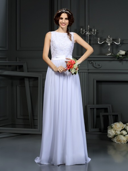 A-Line/Princess Scoop Lace Wedding Dress with Long Chiffon