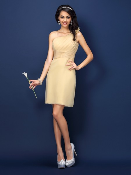 Sheath/Column One-Shoulder Short Chiffon Bridesmaid Dress