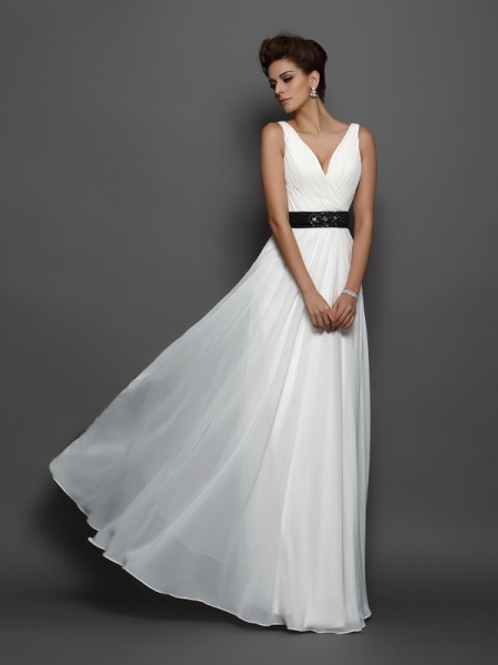 A-Line/Princess V-neck Sash/Ribbon/Belt Wedding Dress with Long Chiffon