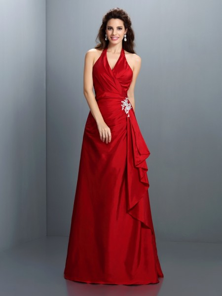 A-Line/Princess Halter Beading Long Taffeta Dress