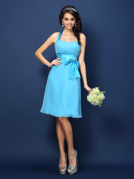 Sheath/Column Halter Bowknot Short Chiffon Bridesmaid Dress