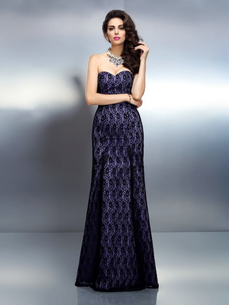 Trumpet/Mermaid Sweetheart Lace Long Satin Dress