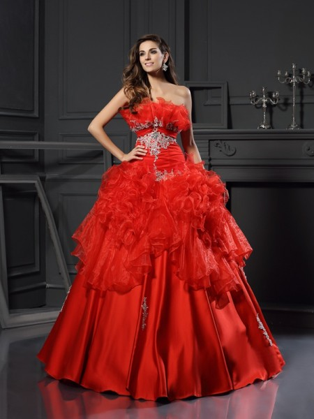Ball Gown Strapless Ruffles Long Organza Quinceanera Dress