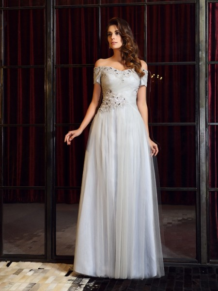 A-Line/Princess Beading Long Net Dress