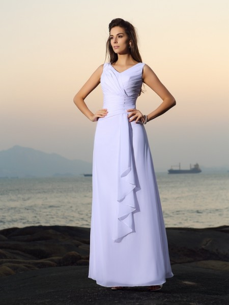 A-Line/Princess V-neck Pleats Beach Wedding Dress with Long Chiffon