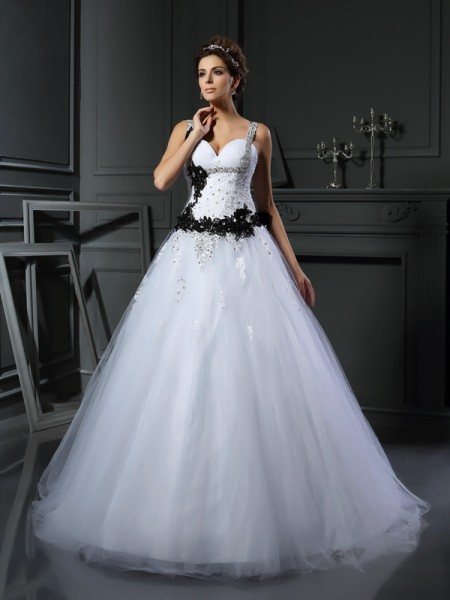 Ball Gown Straps Beading Long Tulle Wedding Dress