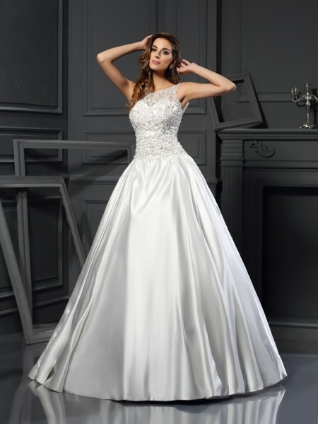 Ball Gown Scoop Applique Long Satin Wedding Dress