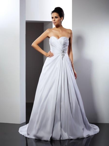 A-Line/Princess Sweetheart Ruffles Long Satin Wedding Dress